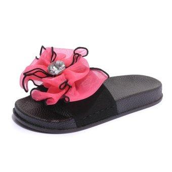 Lotus Jolly Silk Bow Slides Women Summer Beach Shoes Woman No Fur Slippers  Flat Heels Flip da382de77