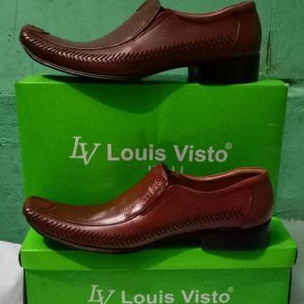 Louis Visto sepatu pria l kulit asli model LV 206 Tan