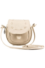 Lovely Leather Mini Adjustable Shoulder Bag (Beige)