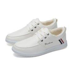 Low Vamp Men New Plus Velvet Cotton Shoes Trend Men Fashion Leisure Shoes Keep Warm Comfortable Students Skate Shoes - Intl