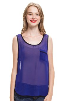 LZD Sleeveless Top With Contrast Binding - Blue