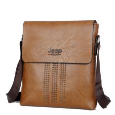 Male Bag Shoulder Bag Men Shaft Aslant Package Crossbody Bag Cowhide Leather Tote Bag Leisure Small Bag Business Clamshell Packages (Khaki)