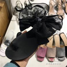 Manis Batu Kristal Air Baru Kupu-kupu Simpul Sandal Sepatu Wanita (Hitam)