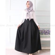 Marlow Jean Rok Panjang Rok Hijabers Simple / Women Long Skirt / Rok Polos Panjang - Hitam