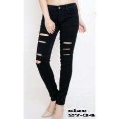 Master Jeans celana wanita sobek silet
