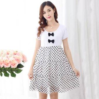 16683612e1fb Maternity summer short-sleeved cotton dress Polka Dot stitching loose  chiffon blouse - INTL