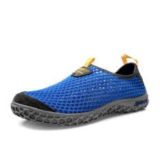 Men Breathable Mesh Sport Lace-Ups Low Cut Sneakers-Navy Blue