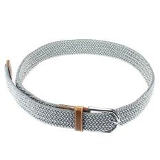 Men Casual Canvas Belt Elastic Rubber Concise Belt Metal Buckle Belt Gray