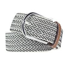 Men Casual Canvas Belt Elastic Rubber Concise Belt Metal Buckle Belt White