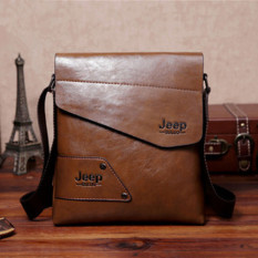 Men Casual Crossbody Bag Business Messenger Bag Shoulder Bag Single Shoulder Leather Bag (Khaki)