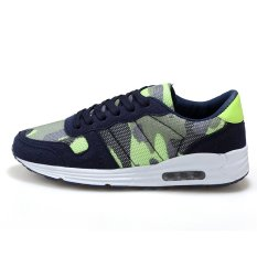 Men Casual Shoes Flat Men's Trainers Sneakers Fashion Sport Shoes Men Breathable Mesh Wedge Sneakers Green (INTL)