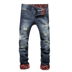 Men Casual Straight Ripped Knee Skinny Jeans (Intl)