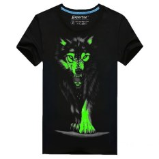 Men Cotton Blended 3D Printed Noctilucent Wolf Short Sleeve T-shirt (Intl)