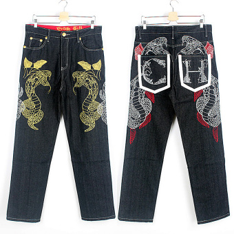 Men Cotton Denim Baggy Jeans Plus Size (Black) - Intl