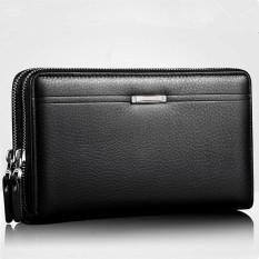 Men Cowhide Genuine Leather Handbag Male Clutch Large Capacity Business Wallet (Black)