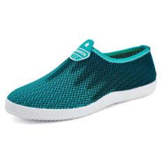 Men Fashion Breathable Mesh Sport Bicolor Low Cut Sneakers-Sky Blue
