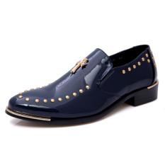 Men Fashion Pointed Rivet Formal Men Leather Shoes (BLUE) - Intl