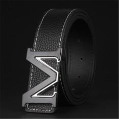 Men Fashion Style M Letter Buckle Belt MBTP1644-1 Black