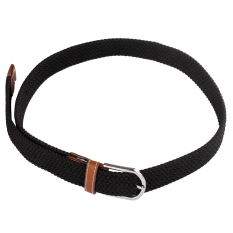 Men Leather Braided Elastic Stretch Metal Buckle Belt Waistband Black