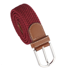 Men Leather Braided Elastic Stretch Metal Buckle Belt Waistband Red