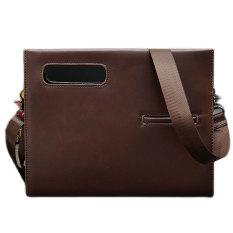 Men Messager Bag Business Retro Envelope Clutch Crazy Horse Leather Handbag Totes Original Design Brown - Intl