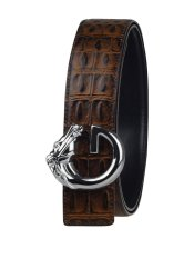 Men PG21C Genuine Leather Belt Buckle Italian Cowhide Brown / Silver