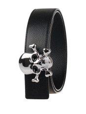 Men Reversible Full Grain Leather Belt PJ11A202 Black / Silver