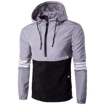 Men 's Casual Jacket Fashion Pin - Stripe Hooded Jacket Grey+Black - intl
