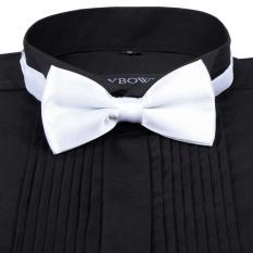 Men Satin Bow Tie Dickie Bow Pre-Tied Wedding Tuxedo Tie Necktie White A