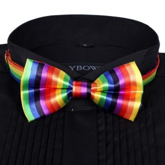 Men Satin Bow Tie Dickie Pre-Tied Wedding Tuxedo Tie Necktie Vertical Rainbow