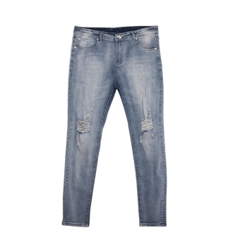 Men Straight Ripped Skinny Jeans (Blue) - Intl