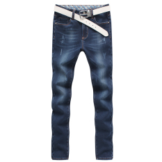 Men Stretchy Straight Jeans Pants - Intl