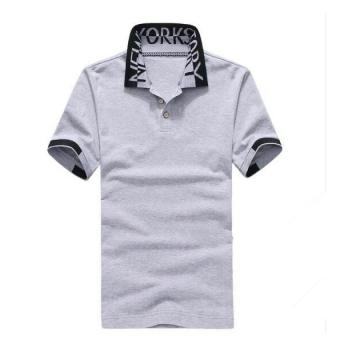 Men Summer Slim Fit Polo Shirt D6825G (Grey) - Intl