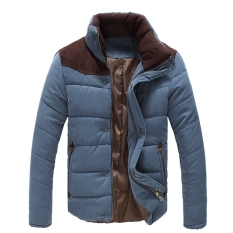 Men Winter Warm Thermal Wadded Jacket Cotton-padded Coat Winter Slim Fitted Thicken Coat Outerwear (Gray)