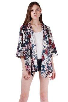 Menggantung-Qiao Wanita Floral Kimono Blus Puncak Warnawarni