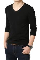 Men's Cotton V-neck Long Sleeve T-shirt Black