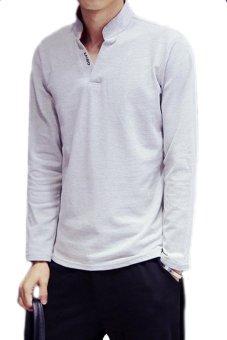 Mens Autumn Clothing 2015 New V-Neck Polo Shirts Slim Long SLeeve Neck Printed Casual T-Shirts(Grey)