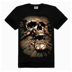 Mens Casual 3D Personality Skull Printing Short-sleeve T-shirt Cotton Sport Black Tees (Intl)