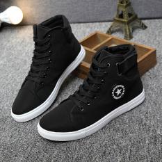 Men's Casual Canvas Shoes Child Cloth Shoes Tide Movement (Black) .