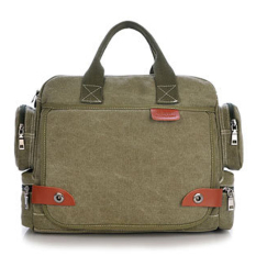 Men's Casual Durable Washed Canvas Travel School Business Laptop Bag (Green)