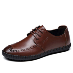 Men's Casual Leather Shoes British Style Low Cut Breathable Shoes Vogue Breathable Leather Shoes (Brown) (Intl)