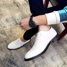Men's Casual Shoes British Business Leather Shoes New Wedding Shoes Strap Low Men's Shoes White -intl