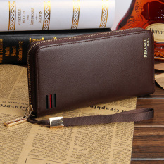 Men's Clutch Bag Zipper Long Hand Wallet Business Casual Men's Handbags Leather - Brown