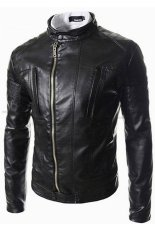 Men's Coats Jackets Leather Leisure Round Neck Motorcycle (Black)