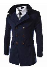 Men's Coats Wool Outwear Buttons Trench Coat Winter Long Jacket (Dark Blue)