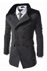 Men's Coats Wool Outwear Buttons Trench Coat Winter Long Jacket (Grey)