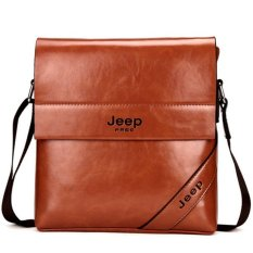 Men's Cowhide Leather Business Bag Men Tote Casual Vertical Inclined Shoulder Bag Small Bag Briefcase. (Brown)