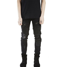 Mens Denim Slim Straight Biker Skinny Jeans (Black)