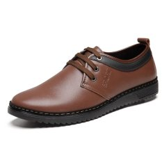 Men's Dress Casual Low Cut Breathable Lace-Up Leather Shoes (Brown) (Intl)