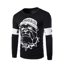 Men's Fashion Casual Cartoon Printing Sweater Black (Intl)